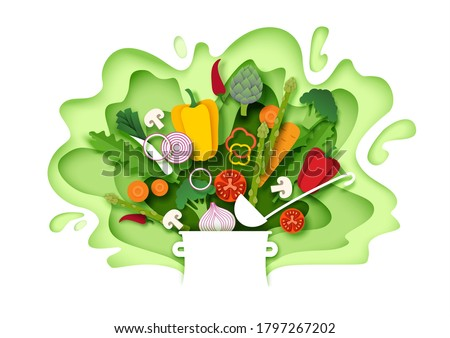 Fresh vegetables falling into the pot. Vector layered paper cut style illustration. Cooking food. Healthy meal. Natural organic food for menu poster banner template. #1797267202
