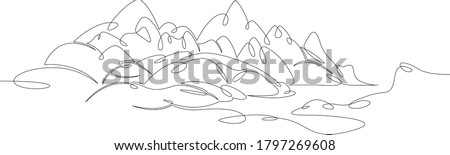 One continuous drawing line logo beautiful mountain landscape panorama overlooking the alpine lake  .Single hand drawn art line doodle outline isolated minimal illustration cartoon character flat Royalty-Free Stock Photo #1797269608