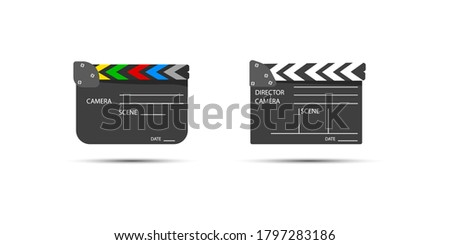 Film set clapperboard for cinema production. Board clap for video clip scene start. Lights, camera, action! Clapboard making film with text. Black and white icon isolated on white background.
