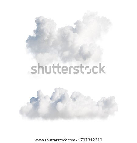 3d render. Shapes of abstract white clouds. Cumulus different perspective views, clip art isolated on white background.
