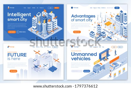 Set of Landing page design templates for Intelligent smart city, Advantages of smart city, Future is here and Unmanned vehicles. Easy to edit and customize. Modern Vector illustration concepts Royalty-Free Stock Photo #1797376612