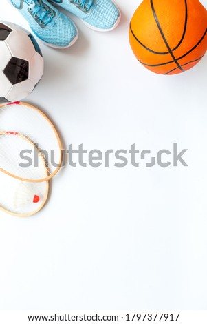 Set of sport games balls and equipment on white baclground. Top view copy space Royalty-Free Stock Photo #1797377917