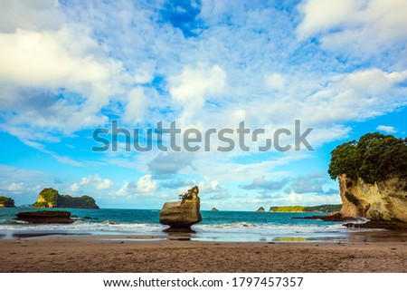 New Zealand. Cathedral Cove on Coromandel Peninsula at sunset. Picturesque rocks on a sandy beach. The evening tide begins. The concept of exotic, ecological and photo tourism
