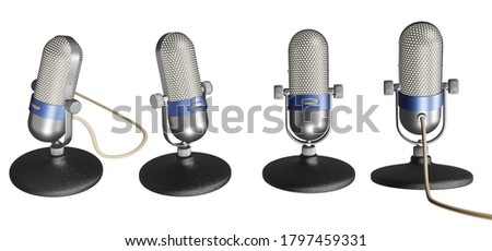 Old microphone 3D illustrations isolated on white background.with Clipping Path ready to use for decoration.