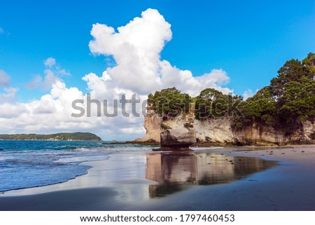 The far end of the earth. Travel to New Zealand. Ocean tide in the Cathedral Cove. Mirror reflections of clouds in wet sand. The concept of exotic, ecological and photo tourism
