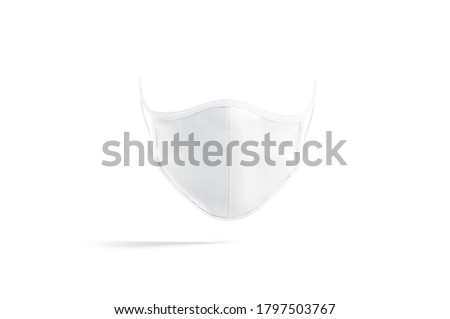 Blank white fabric face mask mock up, front view, 3d rendering. Empty healthcare textile respiratory for medical mockup, isolated. Clear quarantine safety protective visard template.