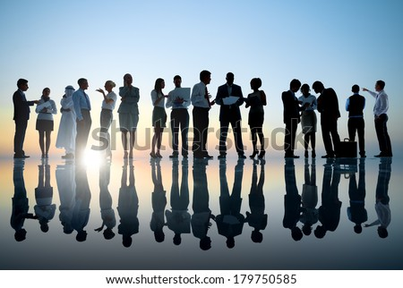 Group of Business People Meeting with Sunset #179750585