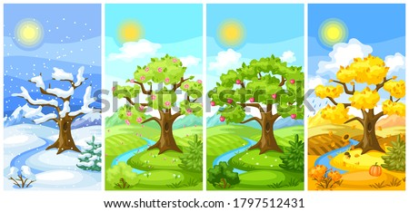 Four seasons landscape. Natural illustration with trees, mountains and hills in winter, spring, summer, autumn. Royalty-Free Stock Photo #1797512431