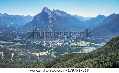 Overview of the town of Banff and Mount Rundle as seen from the top of Mount Norquay #1797517318