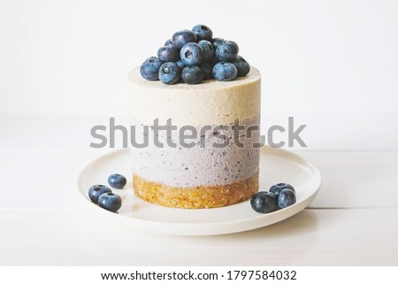 Raw gluten-free no-bake dessert. Vegan vanilla blueberry cheesecake against white background. Sweet healthy food. Royalty-Free Stock Photo #1797584032
