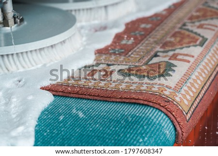 Automatic washing and cleaning of carpets. Industrial line for washing carpets. Carpets chemical cleaning with professionally extraction method and disk machine. Early spring cleaning.  #1797608347