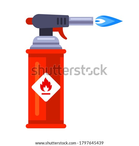 blowtorch with blue flame for construction. flat vector illustration isolated on white background.