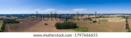 the landscape of mecklenburg-western pomerania in germany from above as high definition panorama Royalty-Free Stock Photo #1797666655