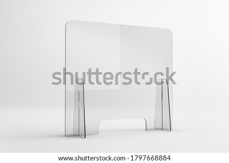 Sneeze guards, social distancing barriers and shields. Help maintain social distance and physical separation while protecting from splashes and sprays with clear plastic barriers. Royalty-Free Stock Photo #1797668884
