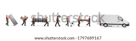 Movers loading household items in a van isolated on white background