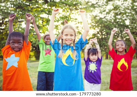 Diverse Children Playing Super Heroes in The Park #179773280