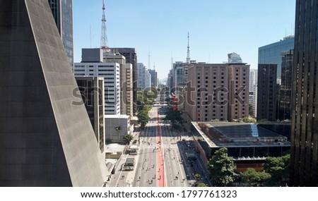 Aerial view of Avenida Paulista (Paulista avenue) in Sao Paulo city, Brazil Royalty-Free Stock Photo #1797761323