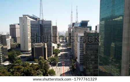 Aerial view of Avenida Paulista (Paulista avenue) in Sao Paulo city, Brazil Royalty-Free Stock Photo #1797761329