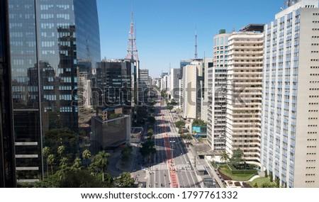 Aerial view of Avenida Paulista (Paulista avenue) in Sao Paulo city, Brazil Royalty-Free Stock Photo #1797761332