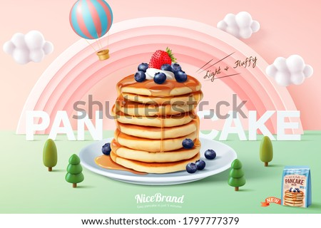 Fluffy pancake ad template, stack of pancakes with maple syrup and fresh fruit on miniature pastel forest background, 3d illustration #1797777379
