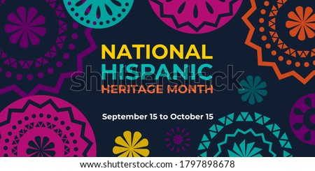 Hispanic heritage month. Vector web banner, poster, card for social media and networks. Greeting with national Hispanic heritage month text, Papel Picado pattern, perforated paper on black background #1797898678