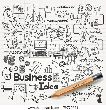 Business Idea doodles icons set. Vector illustration. Royalty-Free Stock Photo #179790296
