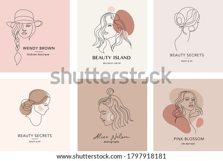 Vector logo and branding design templates in minimal style, for beauty center, fashion studio, haircut salon and cosmetics - female portrait, beautiful woman's face  Royalty-Free Stock Photo #1797918181