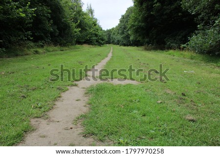 hiking walking cycling trail through middleton park in leeds west yorkshire england british hiking trail hike  #1797970258