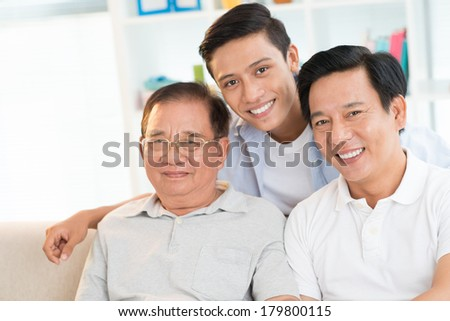 Copy-spaced portrait of a male family posing at camera at home  #179800115