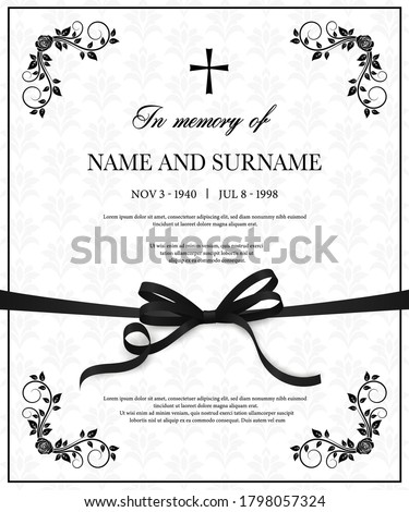 Funeral card vector template, condolence flower ornament with cross, name, birth and death dates. Obituary memorial, gravestone engraving with fleur de lis symbols in corners, vintage funeral card #1798057324