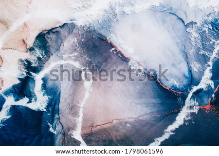 Marble texture. Acrylic ink water. Blue ocean waves sand land abstract design with white clouds effect. Natural mineral stone grain streak pattern with orange fleck veins. Luxury art background. #1798061596