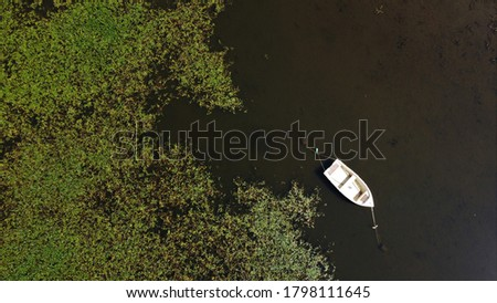 Matese Lake, Italy - August 2020: Lake Matese is the highest karst lake in Italy, located at the foot of Mount Miletto and Mount Gallinola in the Matese mountain range