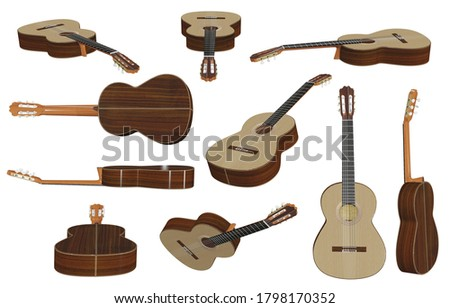 Acoustic guitar 3D illustrations isolated on white background.with Clipping Path ready to use for decoration.