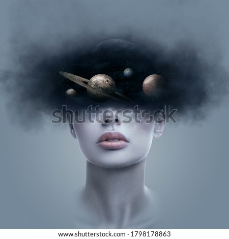 Fantasy art portrait of young woman with head in galaxy outer space. Concept of dreams or imagination Royalty-Free Stock Photo #1798178863