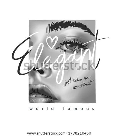 elegant slogan on black and white girl face in square frame Royalty-Free Stock Photo #1798210450