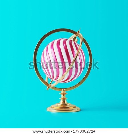 Minimal Merry Christmas web banner. Antique globe with Christmas ball bauble stripes isolated on red background. 3d rendering illustration. Clipping path of each element included.