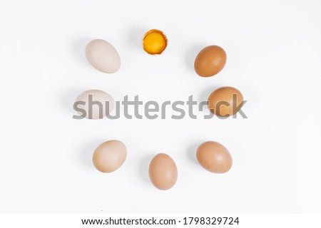 Seven chicken eggs lie in a circle on a white background. Eggs are arranged by color from the darkest to the lightest. Color gradient. One egg is broken, the yolk is visible. Egg clocks. Farm eggs.  #1798329724