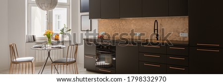 Panorama of modern kitchen with stylish black cupboards and drawers, copper hexagonal tiles and handles and with new black dining table and two, elegant copper chairs #1798332970