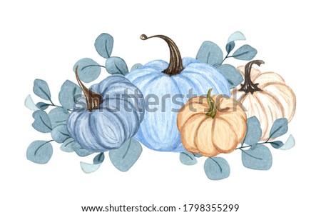 Watercolor pumpkin composition, floral pumpkins, Halloween clip art, autumn design elements, fall arrangement, Harvest clip art isolated on white background