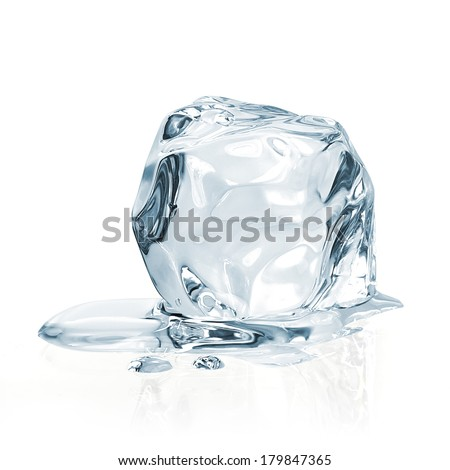 Melting ice cube isolated on white background including clipping path #179847365