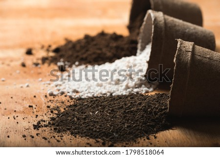 Worm humus coming out of a peat pot with perlite and peat moss as substrate materials on a raw wooden surface. Organic and home farming concept.