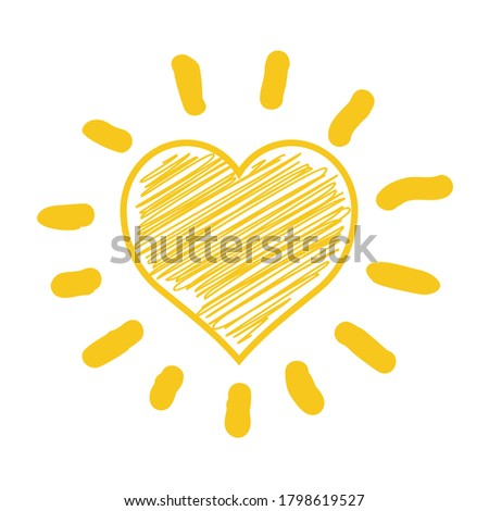 A doodle drawing of the sun in a heart shape on white background