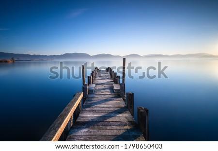 Wooden pier or jetty and lake at sunrise. Torre del Lago Puccini, Versilia, Massaciuccoli lake, Tuscany, Italy, Europe Royalty-Free Stock Photo #1798650403