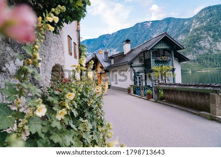 Austria, Hallstatt UNESCO historical village. Colorful town with flowers and historical architecture in Austria Alps mountain. Tourists walk in historical village. Old European place. Royalty-Free Stock Photo #1798713643