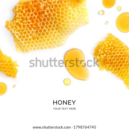 Creative layout made of honey on the white background. Flat lay. Food concept. Royalty-Free Stock Photo #1798764745