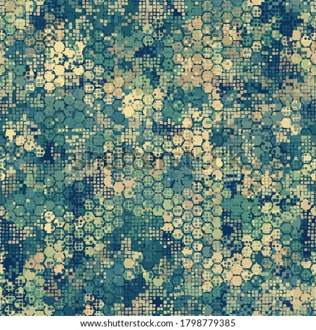 Camouflage seamless pattern with blue hexagonal endless geometric camo ornament. Abstract modern marine military style background. Template for fabric and fashion print. Vector illustration