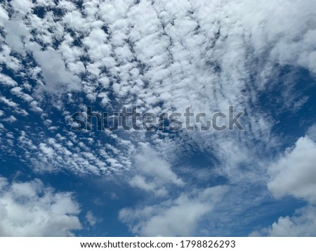 Cirrocumulus clouds are filled with beautiful streaks of clouds in the morning. Like small ripples a thin sheet of white ice crystals.no focus Royalty-Free Stock Photo #1798826293