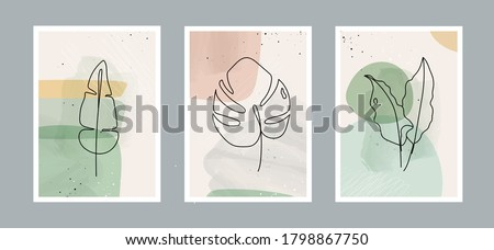 Modern abstract line leaves in lines and arts background with different shapes for wall decoration, postcard or brochure cover design. Vector  illustrations design Royalty-Free Stock Photo #1798867750