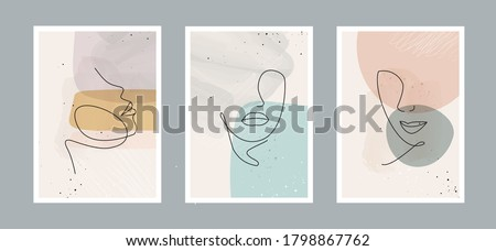 Modern abstract line minimalistic  women faces  and arts background with different shapes for wall decoration, postcard or brochure cover design. Vector  illustrations design. Royalty-Free Stock Photo #1798867762