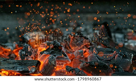 Barbecue Grill Pit With Glowing And Flaming Hot Charcoal Briquettes, Close-Up #1798960867